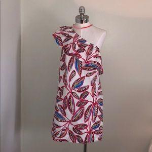 JCrew one shoulder ruffle dress 🌴